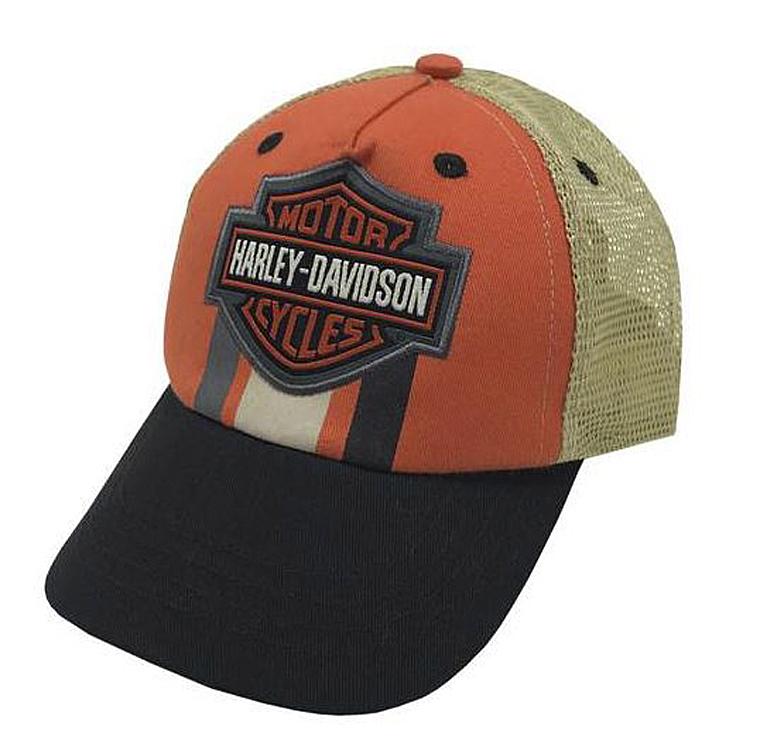 HARLEY DAVIDSON TOD BOY TRUKKER CAP BLACK ORANGE SIZE 2/4T