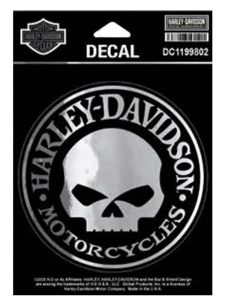 HARLEY DAVIDSON DECAL, SKULL, SM, SILVER, CHROME, 4