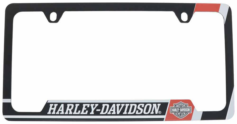 H-D UV PRINTED LICENSE FRAME. RED, BLACK AND GREY WITH HARLEY-DAVIDSON
