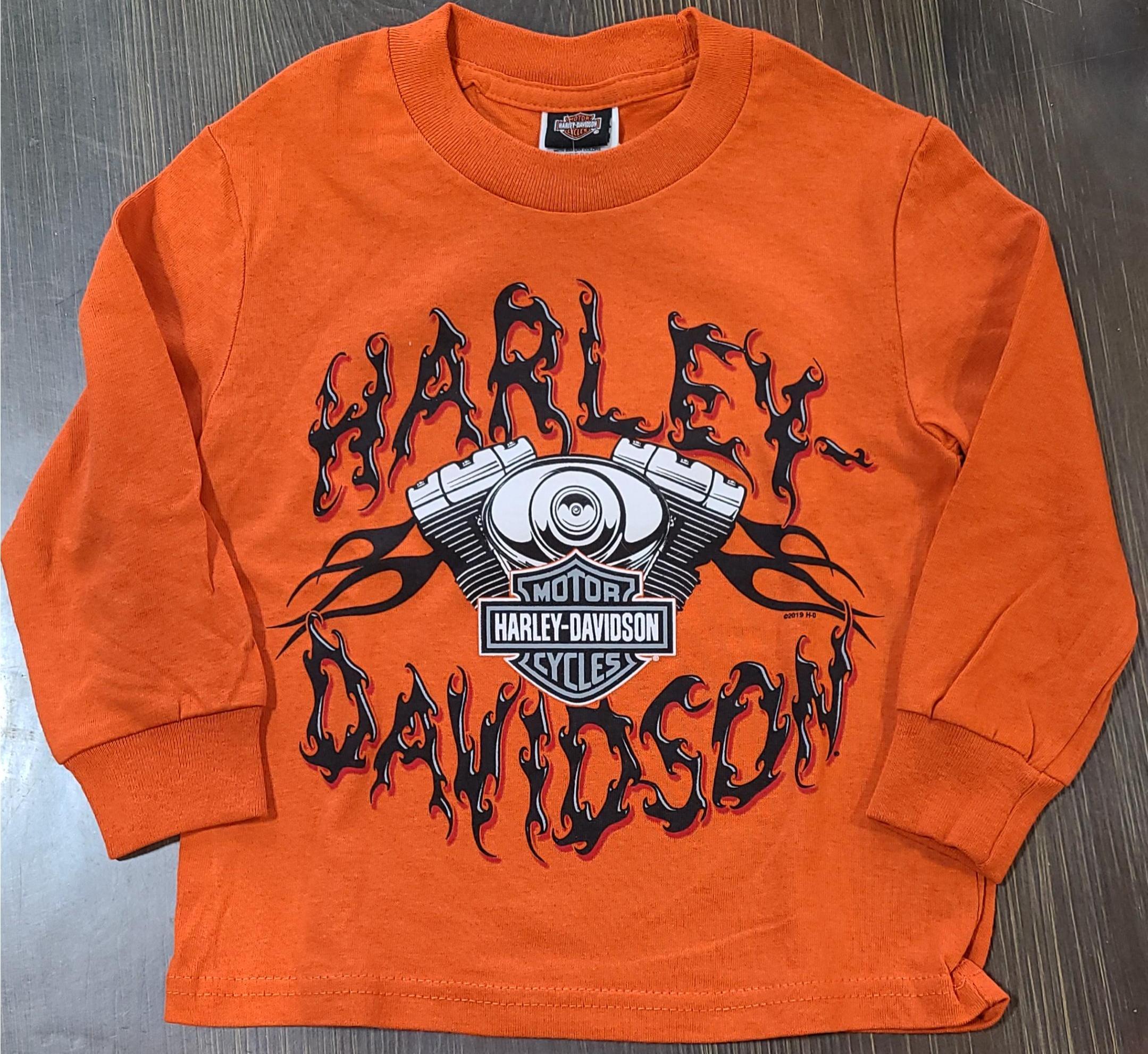 HARLEY DAVIDSON CLASSIC ORANGE*KICKING THE CRHOME SIZE 14YEARS