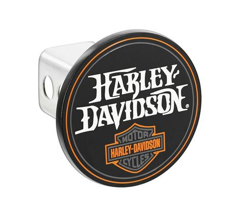 HARLEY DAVIDSON ROUND BLACK HITCH COVER WITH HARLEY-DAVIDSON AND BAR AND SHIELD