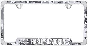 HARLEY DAVIDSON 2 HOLES CHROME FRAME -B&S & HD IMPRINT WITH GREY CAMO