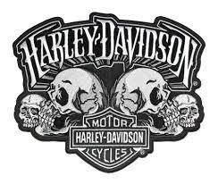 HARLEY DAVIDSON EMBLEM, SKULL TEXT