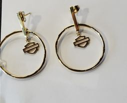 HARLEY DAVIDSON SMALL GOLD TONE STICK POST CIRCLE EARRINGS