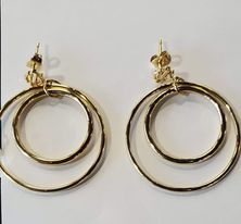 HARLEY DAVIDSON SMALL GOLD TONE DOUBLE CIRCLE POST EARRINGS
