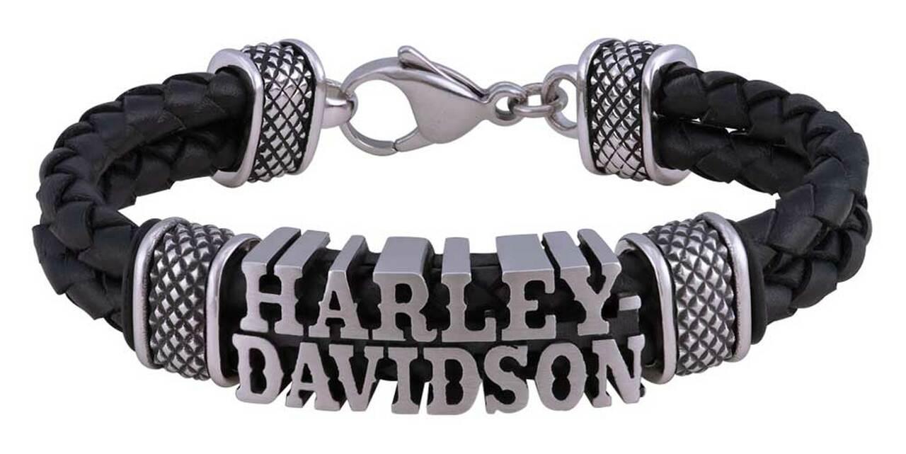 HARLEY DAVIDSON WESTERN DOUBLE BLACK LEATHER BRACELET