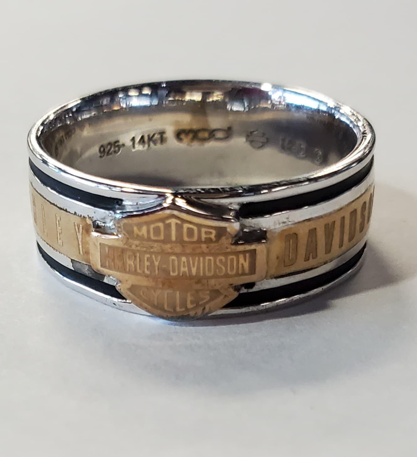 HARLEY DAVIDSON 14K GOLD INLAY & SILVER MEN'S BAND RING