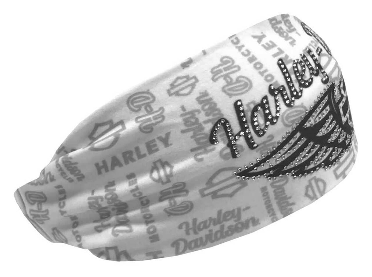 HARLEY DAVIDSON HEADBAND SCRUNCHIE, WINGED SCRIPT, WHITE & GRAY