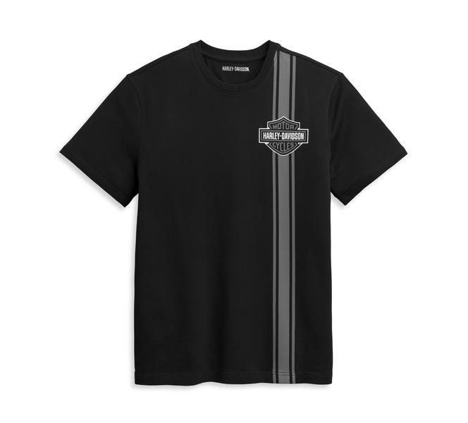 HARLEY DAVIDSON Tee-shirt Vertical Stripe Bar & Shield