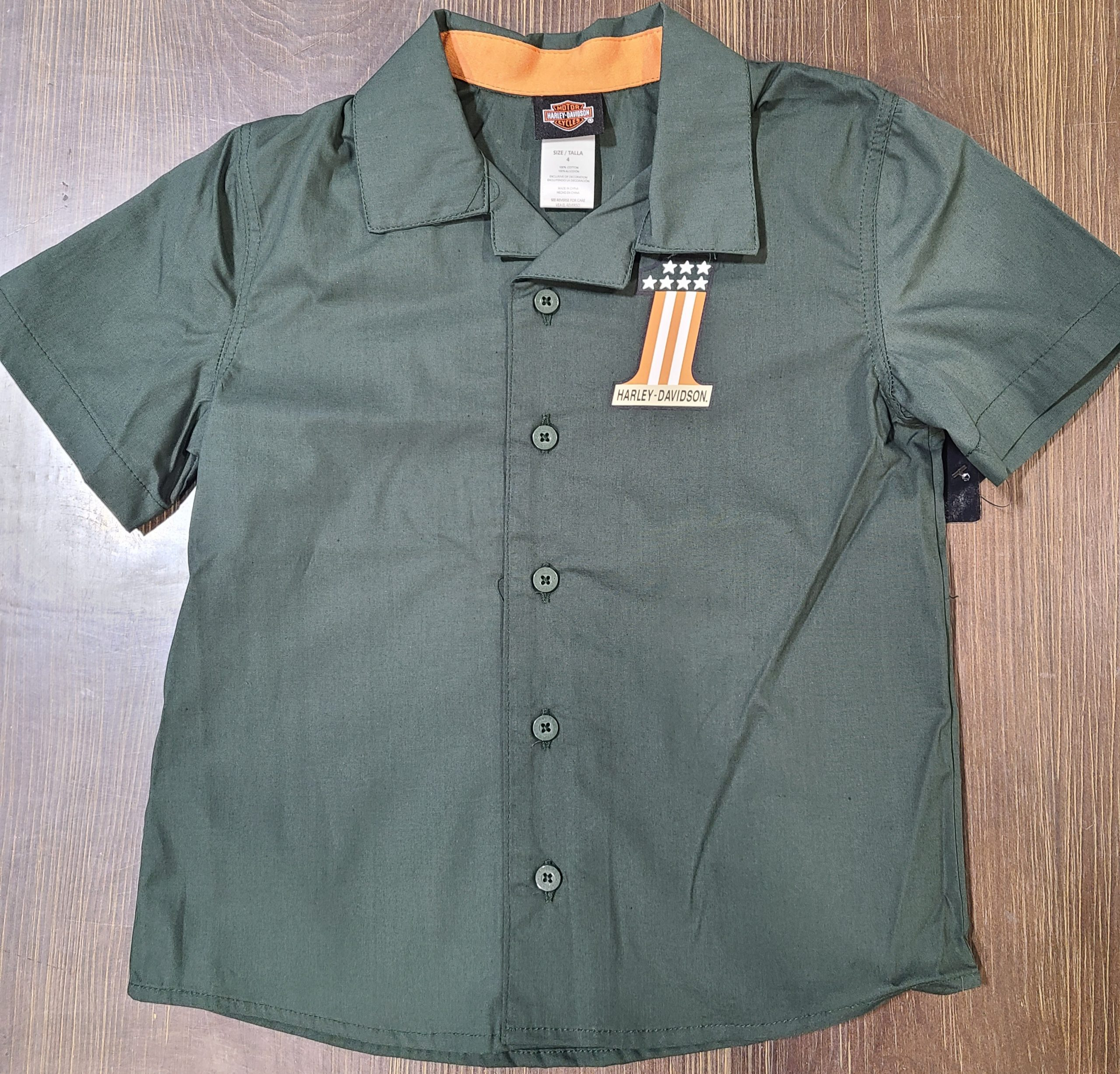 HARLEY DAVIDSON LTL BOY POPLN SHOP SHIRT GREEN SIZE 8/10-12/14