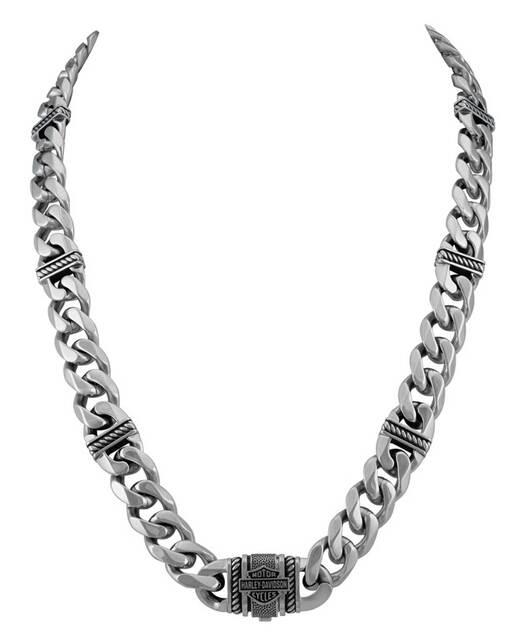HARLEY DAVIDSON STEEL CURB LINK B&S NECKLACE