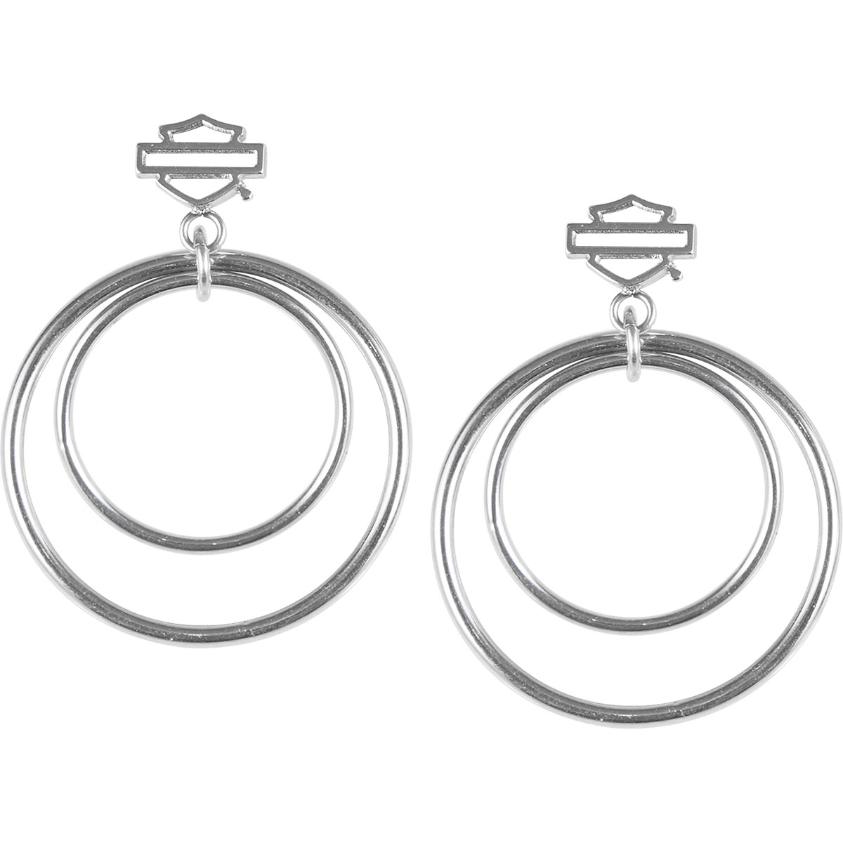 HARLEY DAVIDSON SMALL SILVER TONE DOUBLE CIRCLE POST EARRINGS