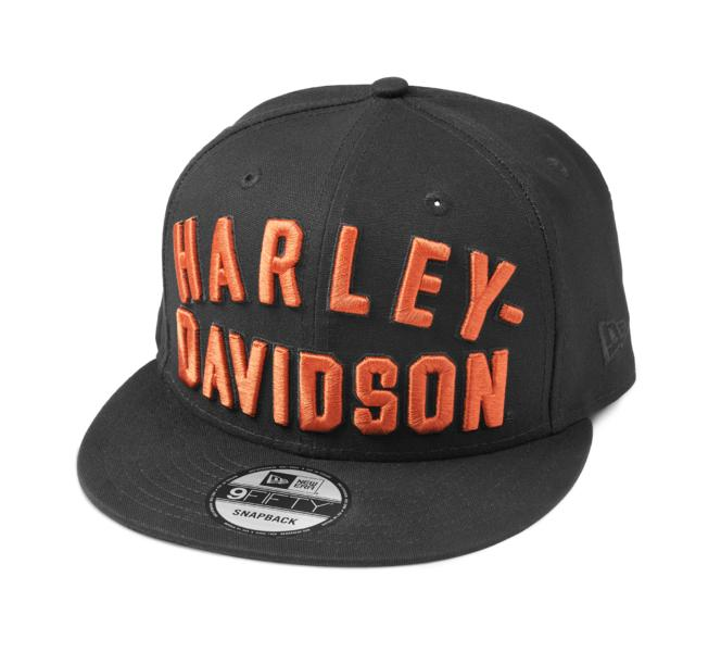 HARLEY DAVIDSON CAP-BB,WOVEN,9FIFTY,BLACK/ORANGE