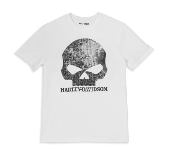 Harley Davidson T-Shirt Milwaukee Map Skull white